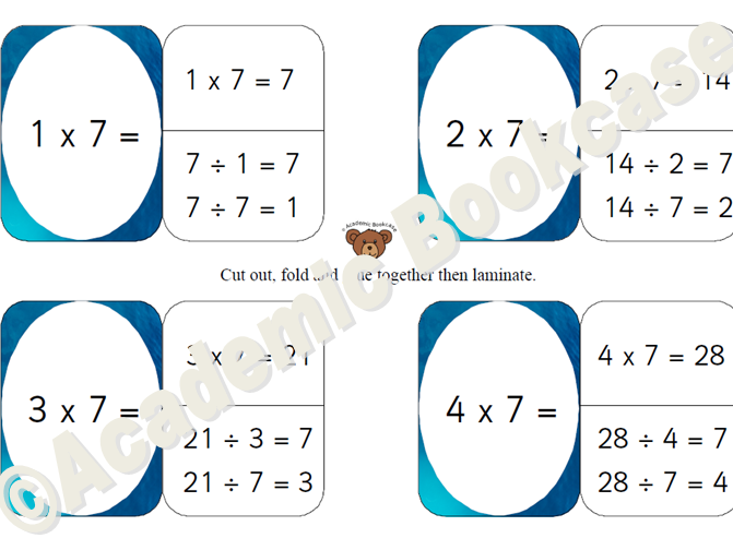 Self check flashcards - 7, 9, 11 and 12 times table with inverse