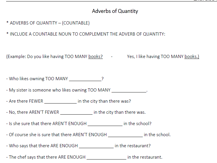 Adverbs of Quantity (LESSON 20)