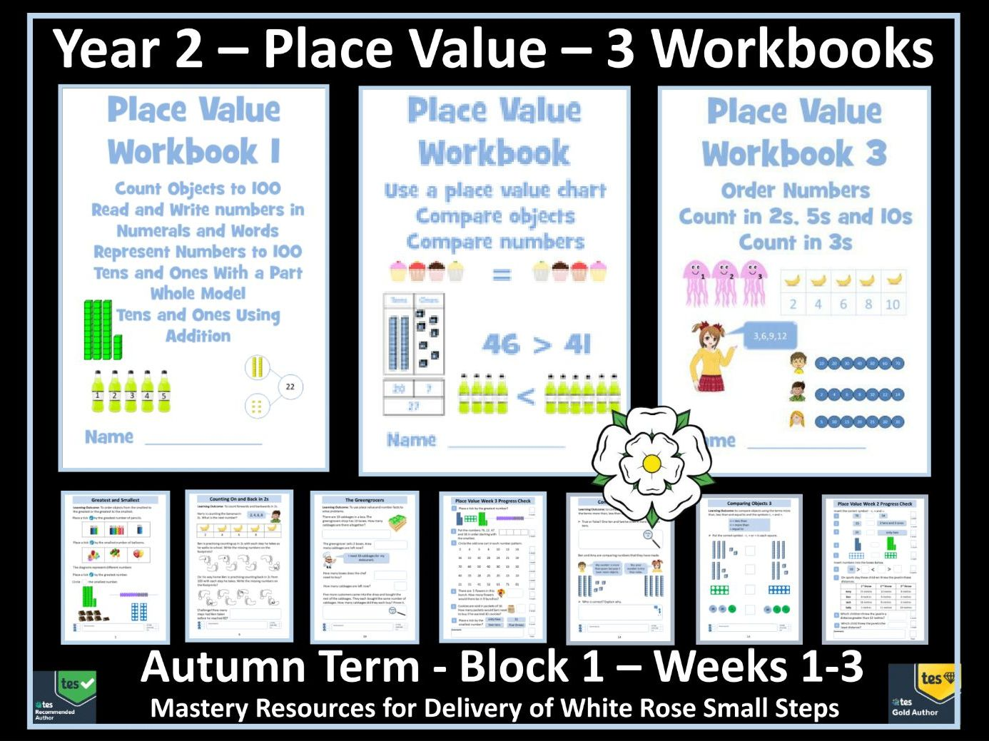 Place Value: 3 Workbooks for White Rose Year 2 Autumn Term - Block 1 - Weeks 1-3