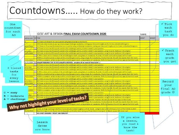 Art Exam Countdowns - made for AQA GCSE, or adaptable to any Exam board