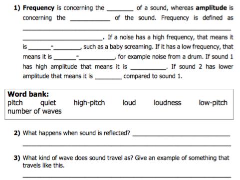 Sounds worksheet (KS3)