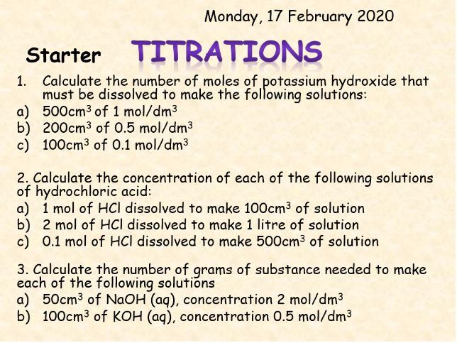 AQA Topic 4: Titrations TRIPLE ONLY