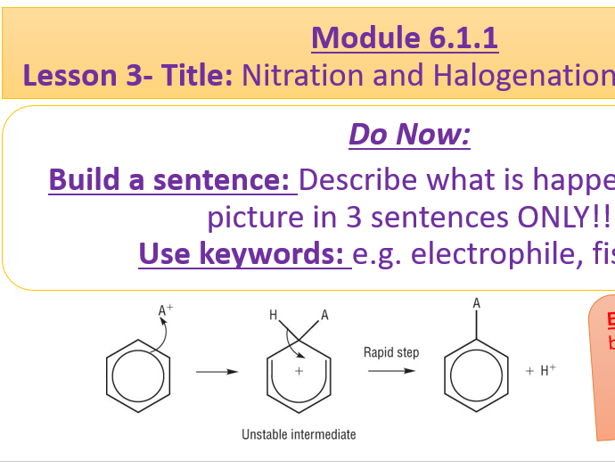 A level Chemistry OCR A - 6.1.1 Lesson 3- Nitration and Halogentation of Benzene