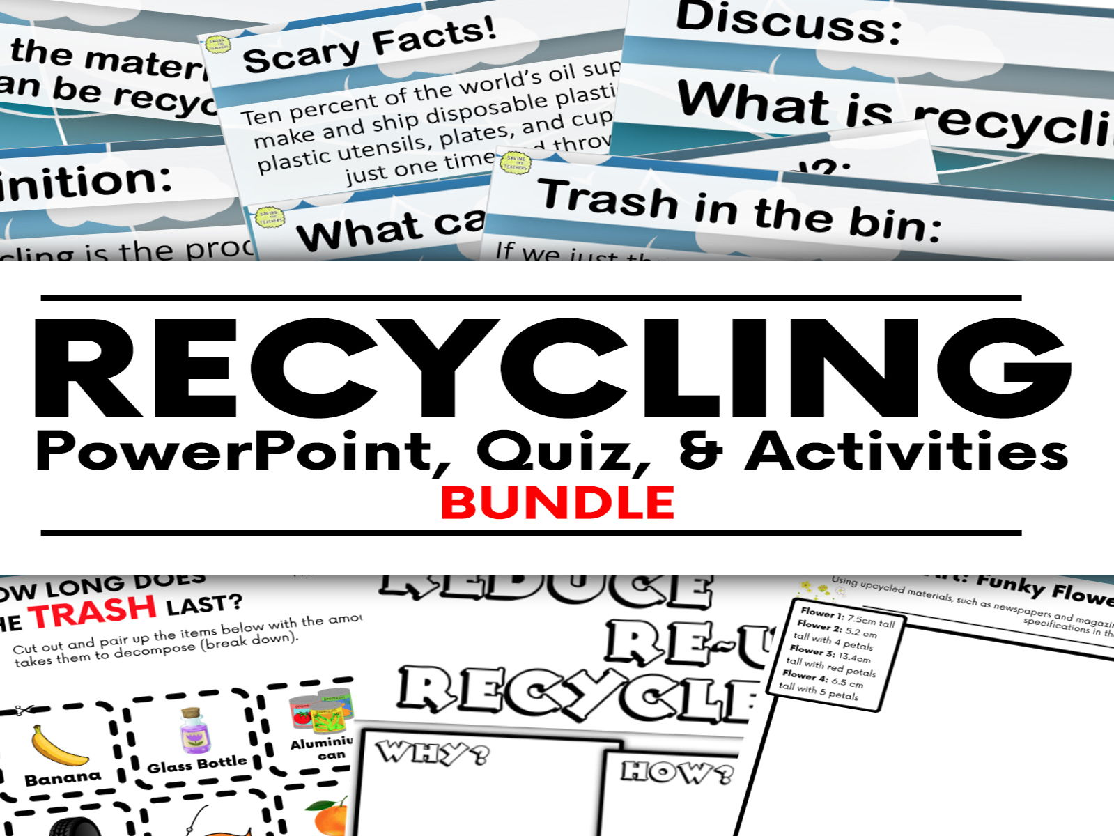 Recycling PowerPoint, Quiz, and Activities Bundle