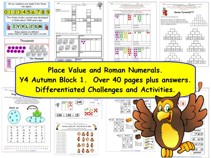 Place Value & Roman Numerals Y4 Autumn Block 1 KS2 inc. Partitioning & Rounding