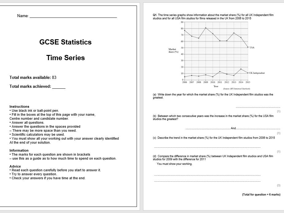 Time Series  Exam Questions (GCSE Statistics)
