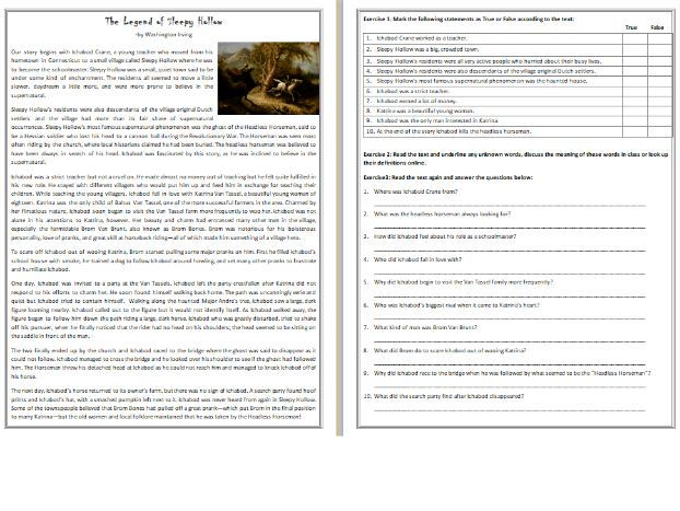 The Legend of Sleepy Hollow Reading Comprehension Worksheet by – The Gift of the Magi Worksheet