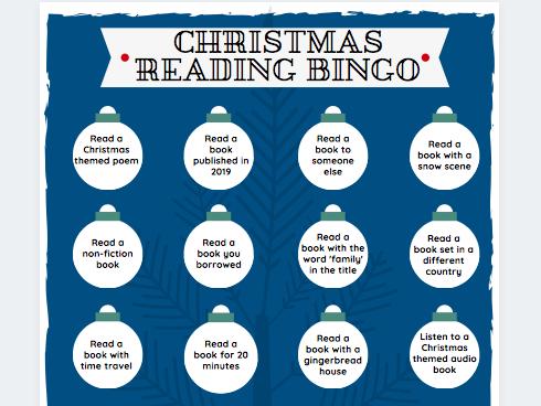 Christmas-Themed Book Reading Bingo Sheet