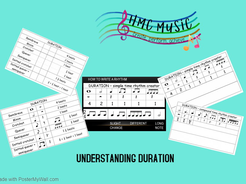 Understanding Duration Bundle - 14 worksheets- learn note lengths and names and be creative