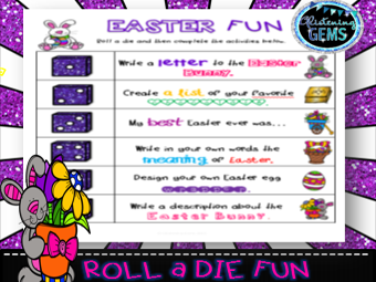 Easter Game - Roll a Die Literacy Fun