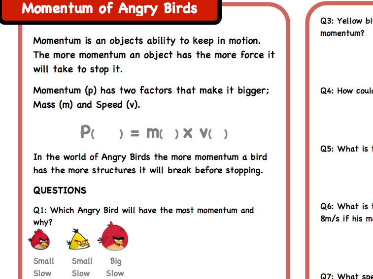 Angry birds momentum questions
