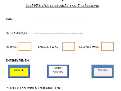 Taster session for option of OCR National Certificate in Sports Studies