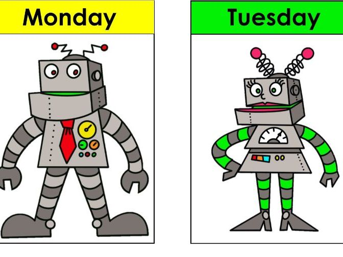 Days of the week signs / cards with unique robot family design. Spelling, recognition games.