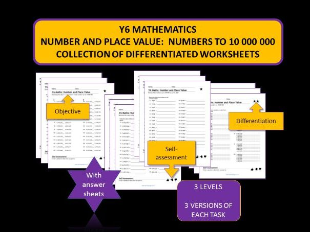Y6 Maths Worksheets.  Place value, comparing, ordering,rounding.  Whole numbers up to 10,000,000