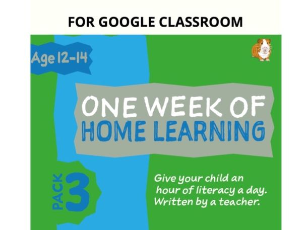 Digital Distance Learning Resource For Google Classroom: Pack 3 (12-14 years)