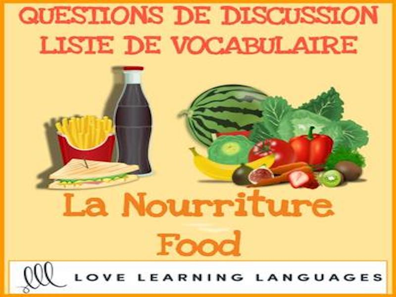 La nourriture Food - Discussions ciblées - French themed conversation questions