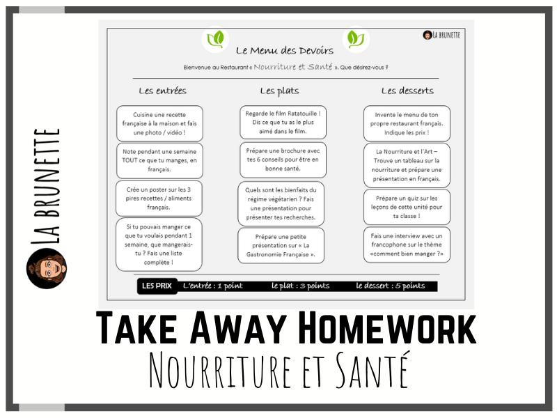 Take Away Homework Menu - Nourriture et Santé