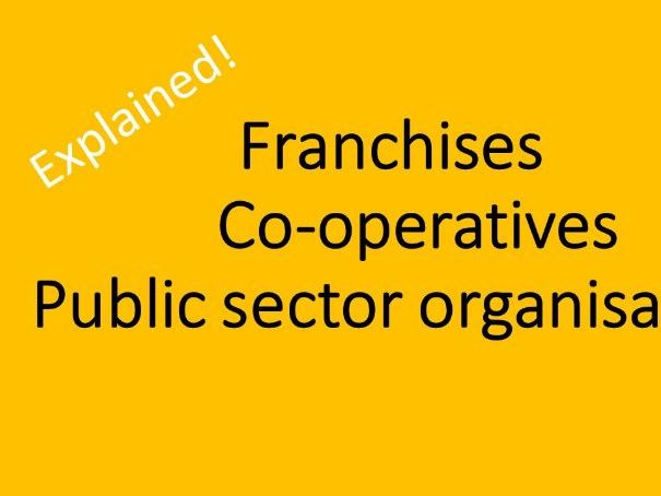 FORMS OF BUSINESS - Franchises, Co-operatives, Public sector organisations