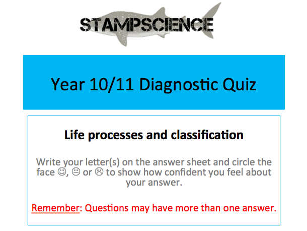 Classification Diagnostic Quiz AfL