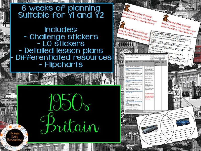 1950s Britain Topic - 6 Lesson Plans & Resources for Y1 and Y2