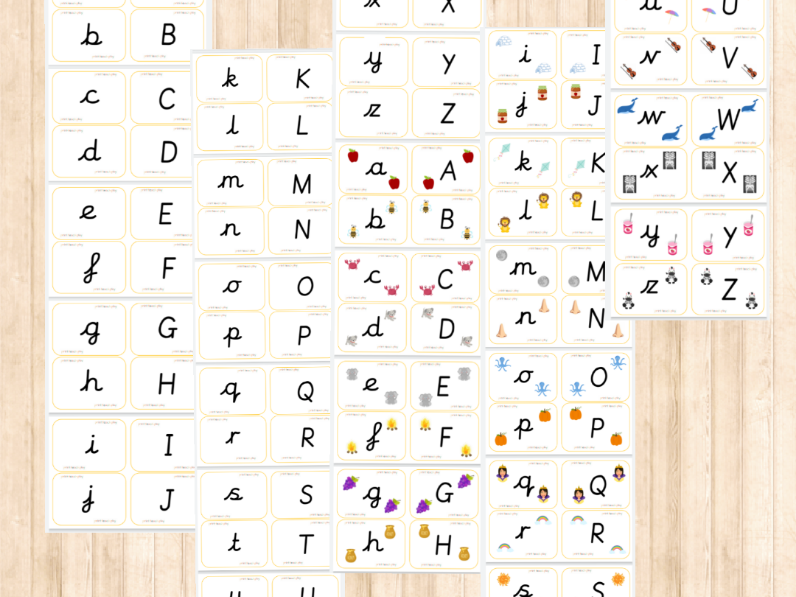 Alphabet Matching Cards - Lowercase/Capitals (unjoined cursive)