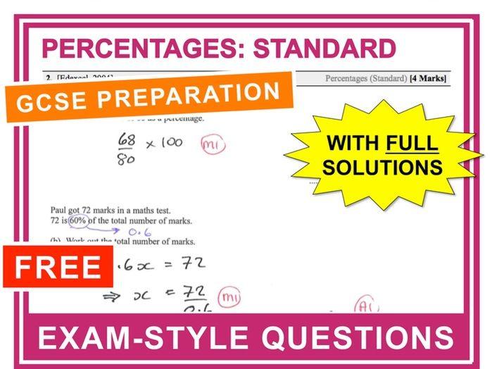GCSE 9-1 Exam Question Practice (Percentages: Standard)