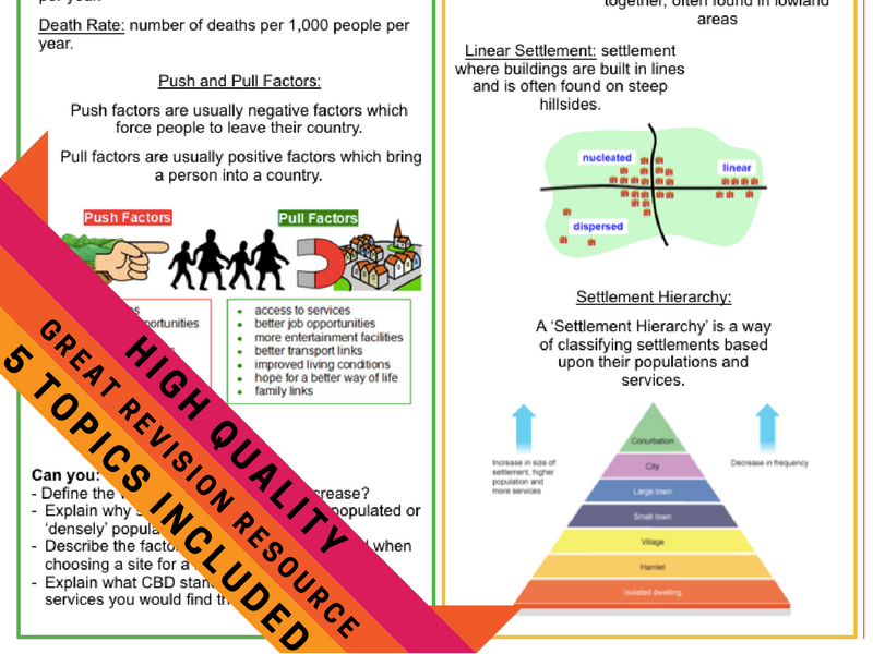 Geography Revision Crib Sheets