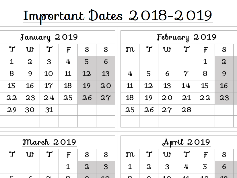 School Calendar - Important Dates 2019