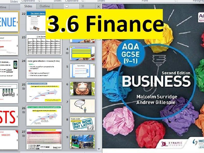 AQA GCSE 9-1 Business - 3.6 Finance (sources of finance, break even, income statements etc.)