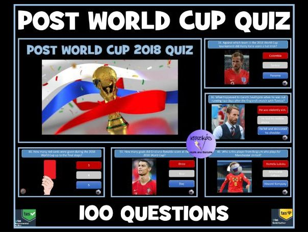 Post Football World Cup 2018 Quiz: 100 Question PowerPoint Quiz