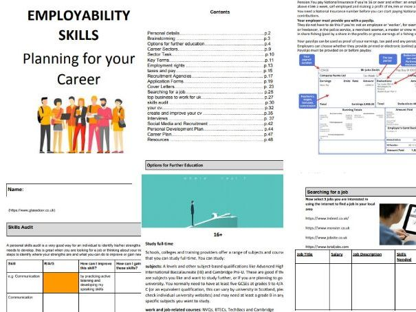 Careers Student Booklet- complete term of lessons:  EMPLOYABILITY SKILLS Planning for your Career