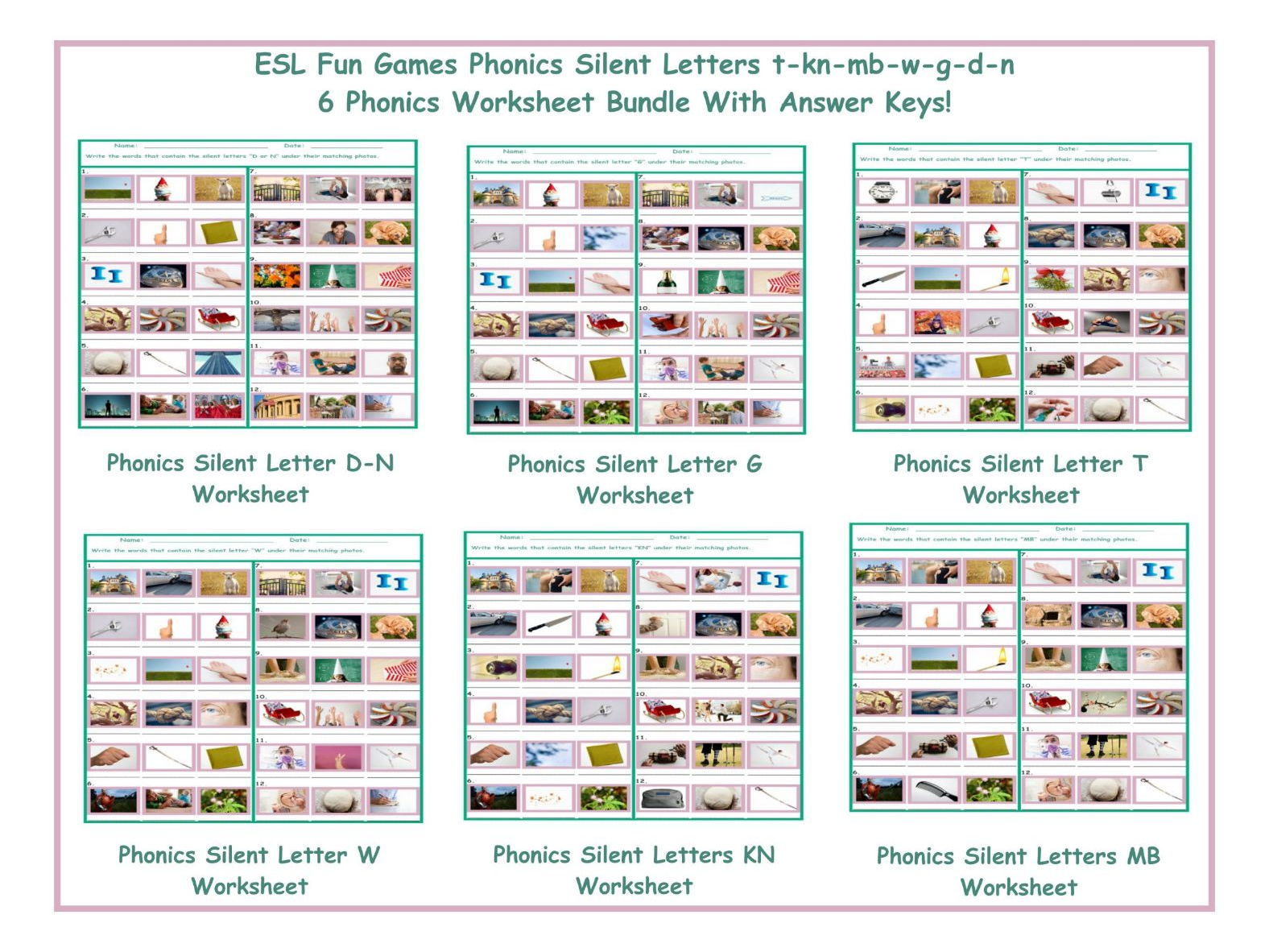 Workbooks kn sound worksheets : Phonics Silent Letters KN Worksheet by eslfungames - Teaching ...
