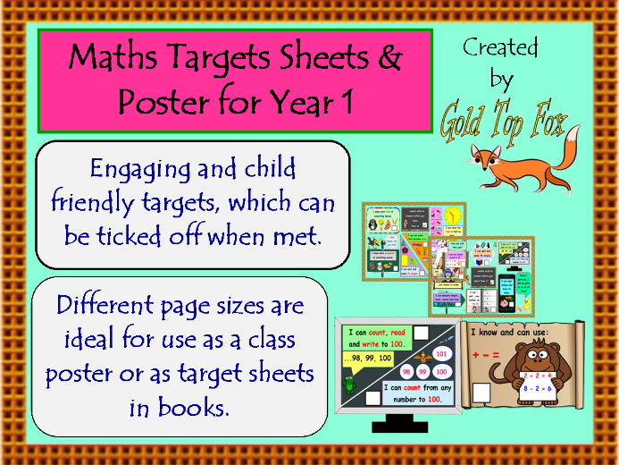 Maths Targets Sheets and Poster for Year 1