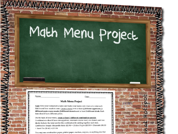Addition Math Menu Project