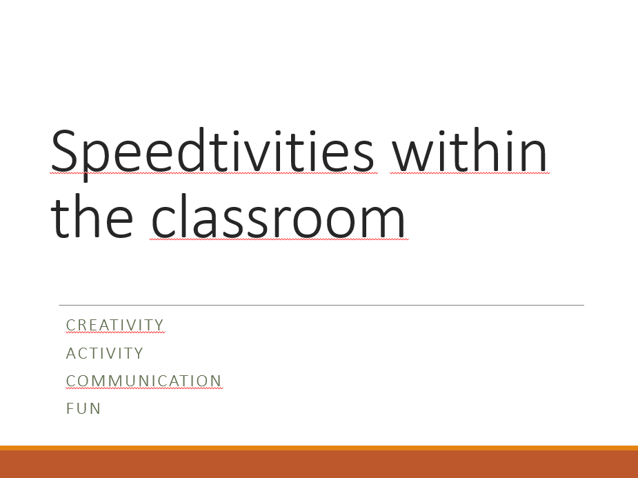 Speedtivities - making learning fun and engaging!