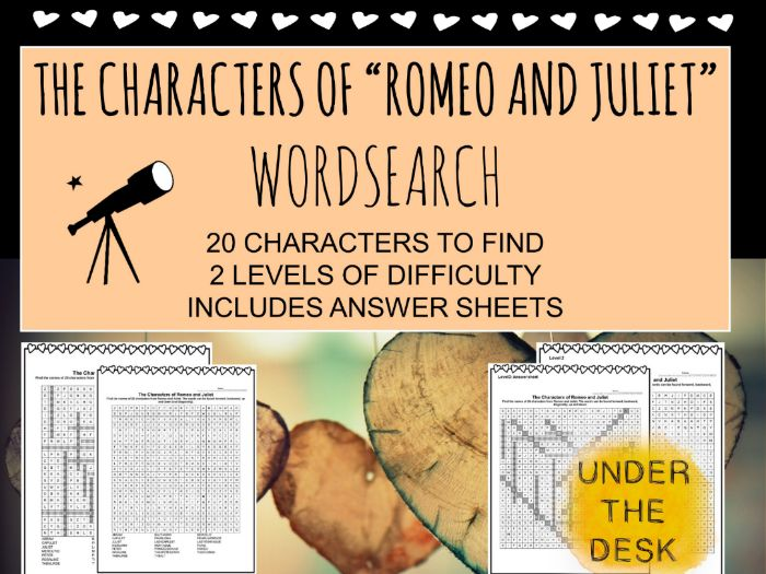 The Characters of Shakespeare's 'Romeo and Juliet' WORDSEARCH FREEBIE