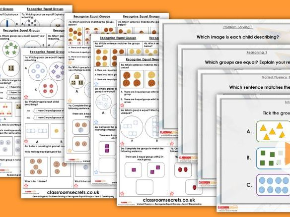 FREE Year 2 Recognise Equal Groups Autumn Block 4 Step 1 Lesson Pack