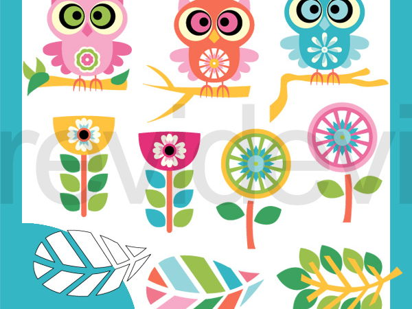 Owls and Flowers Fantasy Pastel Colors Clip Art