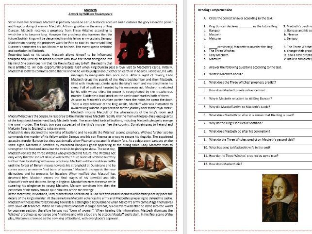 Macbeth by William Shakespeare - Plot summary Reading Comprehension and Vocabulary Worksheet