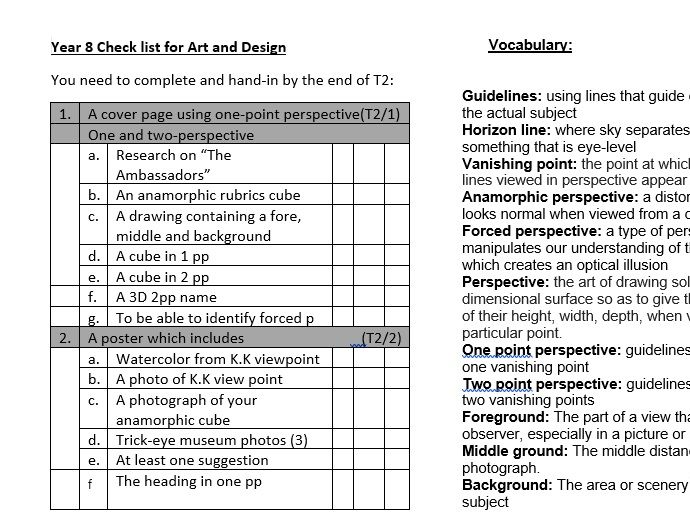 KS3 AFL checklist and vocabulary for Art and Design Term 2