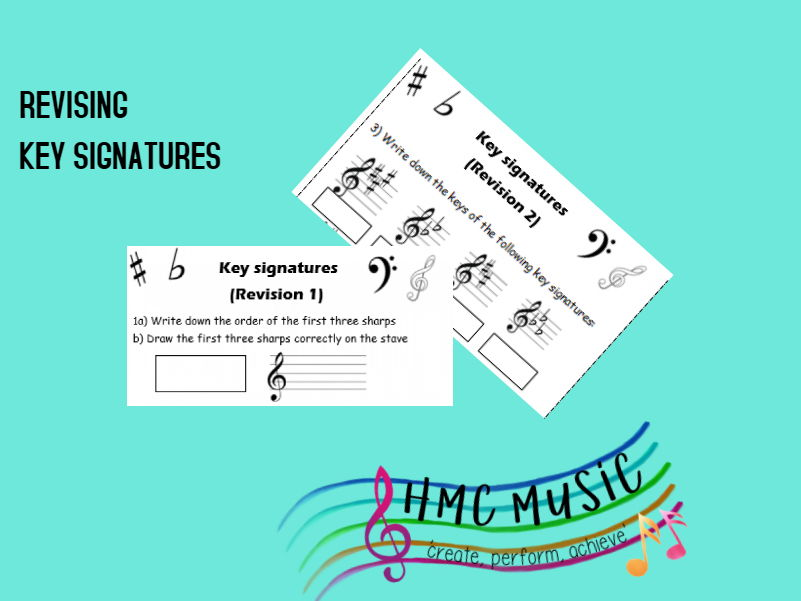 Key signatures for GCSE - 2 pages of revision practice including bass and treble clef
