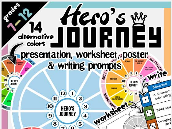 Hero's Journey Presentation Worksheet, Writing Prompt and Graphic Organizer
