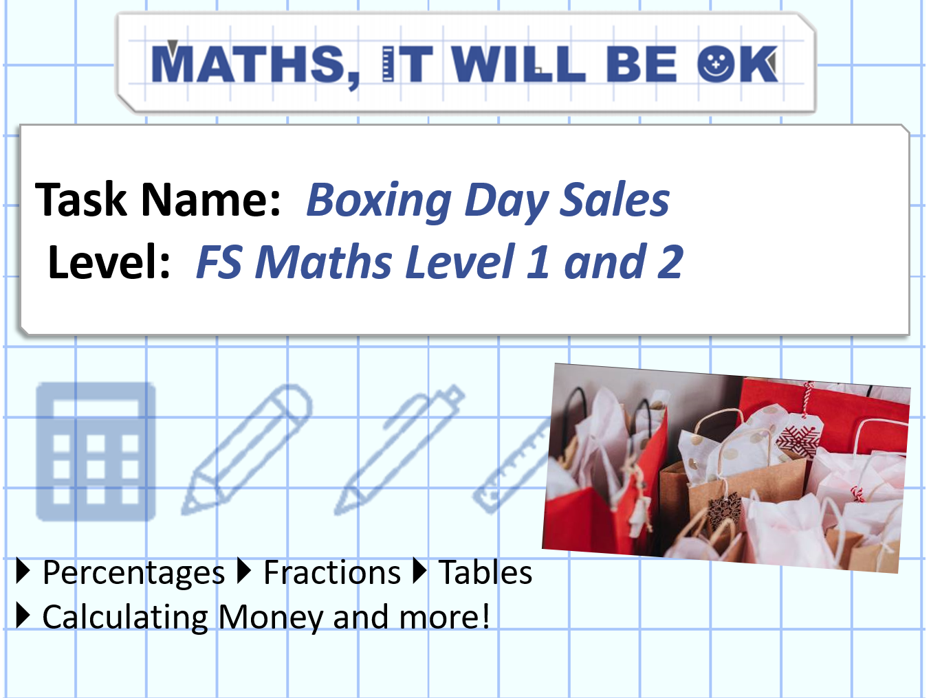 FS Maths Money Boxing Day Sales Exam Style