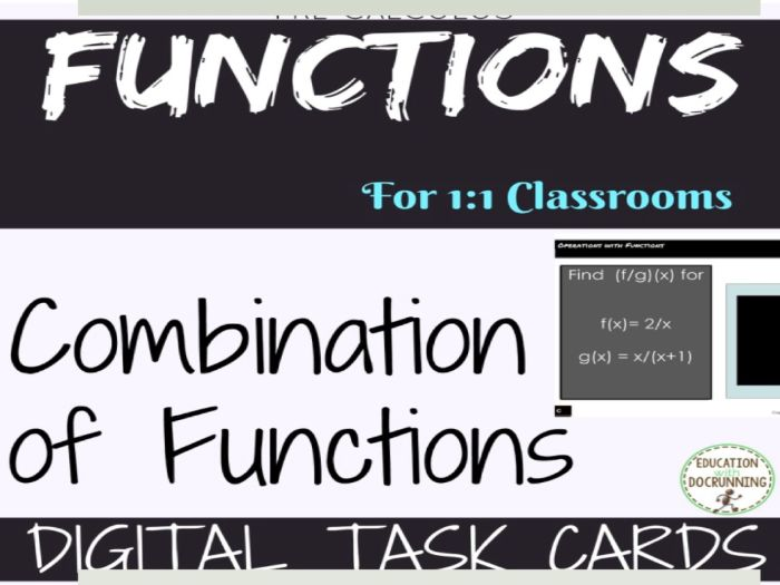 Combining Functions Digital Task Card Activity for PreCalculus