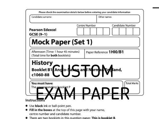 Custom Mock Paper Edexcel GCSE (9-1) History Paper B1 Set 1