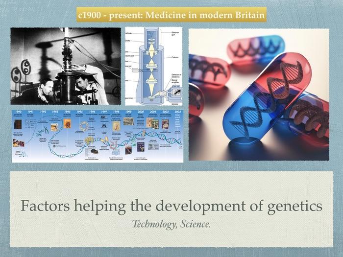 GCSE History of Medicine. 20th Century. Factors helping the development of genetics