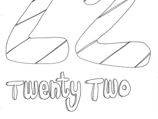 Twenty Two: Numbers: Colouring Page