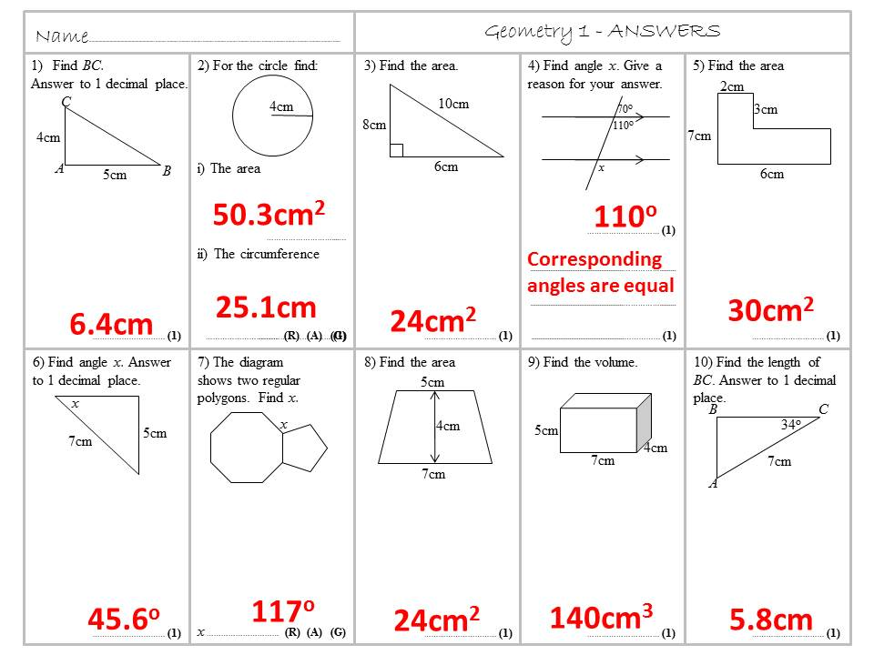 Geometry Homework or Revision Sheets - Grade 4 to 6