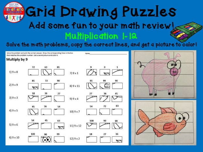 Multiplication Activity: Grid Drawing Math Worksheets