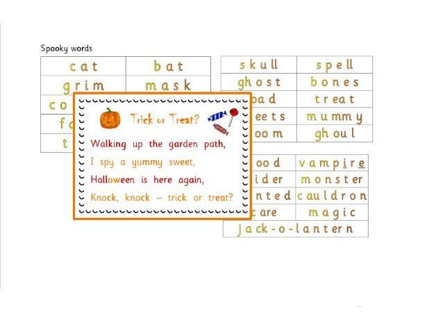 Halloween Poem and Spooky Words - Phonics for SEN